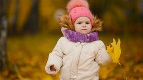 Πορτρέτο κινηματογραφήσεων σε πρώτο πλάνο του μικρού κοριτσιού που στέκεται με ένα φύλλο σφενδάμου και που εξετάζει τη κάμερα που φιλμ μικρού μήκους