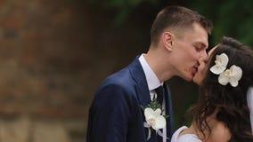 Πορτρέτο κινηματογραφήσεων σε πρώτο πλάνο του νέου γοητευτικού ζεύγους του φιλήματος newlyweds μαλακά υπαίθριου Η σγουρή τρίχα τη απόθεμα βίντεο