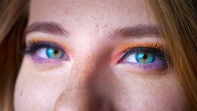 Πορτρέτο κινηματογραφήσεων σε πρώτο πλάνο του ξανθού θηλυκού με τα μπλε μάτια που προσέχουν στη κάμερα με τη ζωηρόχρωμη σύνθεση σ απόθεμα βίντεο
