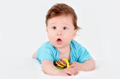 Πορτρέτο κινηματογραφήσεων σε πρώτο πλάνο ενός χαριτωμένου χαμογελώντας μωρού Στοκ Εικόνες