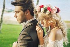 Πορτρέτο κινηματογραφήσεων σε πρώτο πλάνο του ζεύγους γάμου Στοκ Φωτογραφίες