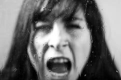 Πορτρέτο κινηματογραφήσεων σε πρώτο πλάνο του κοριτσιού brunette πίσω από το γυαλί Στοκ φωτογραφία με δικαίωμα ελεύθερης χρήσης