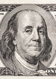 Πορτρέτο κινηματογραφήσεων σε πρώτο πλάνο του Benjamin Franklin Στοκ εικόνα με δικαίωμα ελεύθερης χρήσης