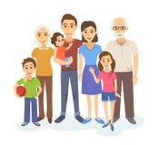 Πορτρέτο κινούμενων σχεδίων της μεγάλης οικογένειας Στοκ Φωτογραφία