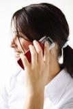 πορτρέτο κοριτσιών κινητών τηλεφώνων στοκ φωτογραφία