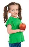 Πορτρέτο κοριτσιών με το μήλο Στοκ Εικόνα