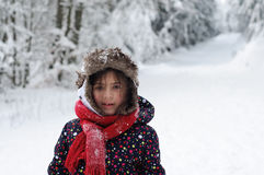 Πορτρέτο κοριτσιών στο χιόνι Στοκ φωτογραφία με δικαίωμα ελεύθερης χρήσης