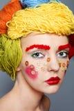 Πορτρέτο με τα νήματα και τα κουμπιά Στοκ εικόνες με δικαίωμα ελεύθερης χρήσης