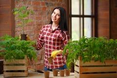 Πορτρέτο μιας γοητευτικής νέας θηλυκής κηπουρικής Στοκ Φωτογραφίες