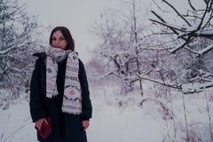 Πορτρέτο μιας γυναίκας στα θερμά ενδύματα το χειμώνα στοκ εικόνες
