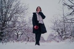 Πορτρέτο μιας γυναίκας στα θερμά ενδύματα το χειμώνα στοκ φωτογραφίες