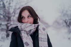 Πορτρέτο μιας γυναίκας στα θερμά ενδύματα το χειμώνα στοκ εικόνες με δικαίωμα ελεύθερης χρήσης