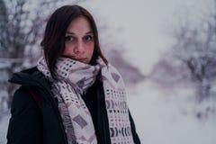 Πορτρέτο μιας γυναίκας στα θερμά ενδύματα το χειμώνα στοκ εικόνα