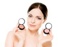 Πορτρέτο μιας εκμετάλλευσης γυναικών makeup palletes Στοκ φωτογραφίες με δικαίωμα ελεύθερης χρήσης