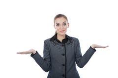 Πορτρέτο μιας επιχειρησιακής γυναίκας με τους κενούς φοίνικές της εκτεταμένους Στοκ φωτογραφία με δικαίωμα ελεύθερης χρήσης