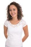 Πορτρέτο μιας ευτυχούς και χαμογελώντας νέας γυναίκας με φυσικά twirls Στοκ Φωτογραφία