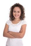 Πορτρέτο μιας ευτυχούς και χαμογελώντας νέας γυναίκας με φυσικά twirls Στοκ Φωτογραφίες