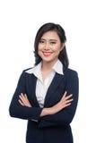 Πορτρέτο μιας ελκυστικής νέας επιχειρηματία που απομονώνεται στο λευκό Στοκ Εικόνες