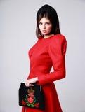 Πορτρέτο μιας καθιερώνουσας τη μόδα γυναίκας στο κόκκινο φόρεμα Στοκ Εικόνες