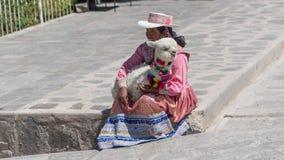 Πορτρέτο μιας μη αναγνωρισμένης περουβιανής γυναίκας με το λάμα μωρών της στον εγγενή ιματισμό σε Ollantaytambo, Περού στοκ εικόνες