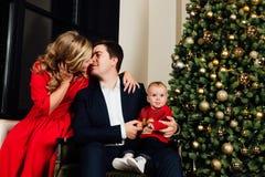 Πορτρέτο μιας οικογένειας σε ένα υπόβαθρο χριστουγεννιάτικων δέντρων Mom, μπαμπάς και ένα 1χρονο αγοράκι Στοκ εικόνες με δικαίωμα ελεύθερης χρήσης