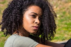 Πορτρέτο μιας σκεπτικής γυναίκας αφροαμερικάνων Στοκ φωτογραφίες με δικαίωμα ελεύθερης χρήσης