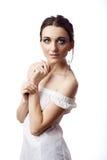 Πορτρέτο μιας όμορφης γυναίκας που απομονώνεται στο λευκό στοκ φωτογραφίες με δικαίωμα ελεύθερης χρήσης