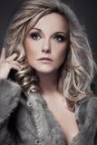 Πορτρέτο μιας όμορφης γυναίκας που φορά τη γούνα Στοκ Εικόνες