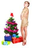 Πορτρέτο μιας όμορφης νέας γυναίκας κοντά στο χριστουγεννιάτικο δέντρο και Στοκ Φωτογραφία
