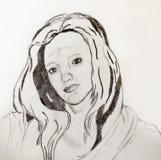 Πορτρέτο μιας όμορφης νέας γυναίκας που σύρεται στο μολύβι στοκ φωτογραφίες με δικαίωμα ελεύθερης χρήσης