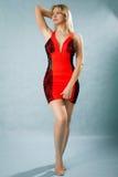 Πορτρέτο μιας όμορφης νέας γυναίκας στο κόκκινο φόρεμα Στοκ εικόνα με δικαίωμα ελεύθερης χρήσης