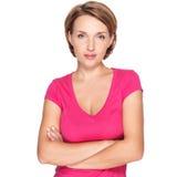 Πορτρέτο μιας όμορφης νέας ενήλικης λευκιάς σοβαρής γυναίκας Στοκ φωτογραφία με δικαίωμα ελεύθερης χρήσης
