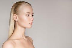 Πορτρέτο μιας όμορφης νέας ξανθής γυναίκας με μακρύ ευθύ Hai στοκ φωτογραφίες