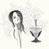 Πορτρέτο μόδας του νέου κοριτσιού με το άρωμα Απεικόνιση αποθεμάτων