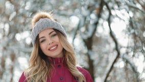 Πορτρέτο νέες γυναίκες με τα ξανθά μαλλιά, που απολαμβάνει το χαμόγελο καπέλων χειμερινής ημέρας outdoorshipster ευτυχές εξετάζον απόθεμα βίντεο