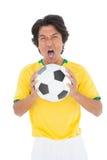 Πορτρέτο να φωνάξει ποδοσφαιριστών Στοκ φωτογραφία με δικαίωμα ελεύθερης χρήσης