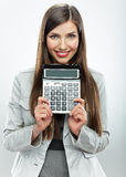 Πορτρέτο λογιστών γυναικών Νέα επιχειρησιακή γυναίκα άσπρο backgrou Στοκ φωτογραφία με δικαίωμα ελεύθερης χρήσης