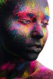 Πορτρέτο ομορφιάς ενός κοριτσιού με τη σύνθεση χρώματος Στοκ Φωτογραφία
