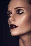 Πορτρέτο ομορφιάς ενός πολύ όμορφου καφετιού ευρωπαϊκού νέου κοριτσιού τρίχας, Στοκ Εικόνες