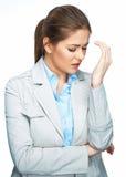 Πορτρέτο πονοκέφαλου γυναικών, σχετικά με το κεφάλι γυναίκα 2 επιχειρήσεων Στοκ Εικόνα