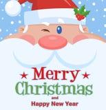 Πορτρέτο προσώπου χαρακτήρα κινουμένων σχεδίων κλεισίματος του ματιού Άγιος Βασίλης διανυσματική απεικόνιση