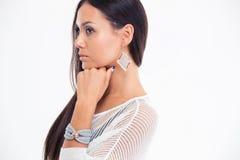 Πορτρέτο πλάγιας όψης ενός θηλυκού προτύπου μόδας Στοκ Εικόνες
