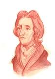 Πορτρέτο σκίτσων του John Locke Watercolour Στοκ Φωτογραφία