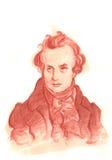Πορτρέτο σκίτσων του Victor Hugo Watercolour Στοκ Εικόνες