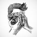 Πορτρέτο σκίτσων φωτογράφων Στοκ φωτογραφία με δικαίωμα ελεύθερης χρήσης