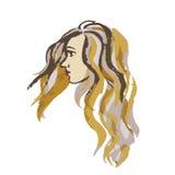 Πορτρέτο σχεδιαγράμματος κινηματογραφήσεων σε πρώτο πλάνο της όμορφης νέας γυναίκας Στοκ Φωτογραφία