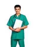 Πορτρέτο της αραβικής υπηκοότητας γιατρών με το αρχείο υγείας στο λευκό Στοκ Εικόνες