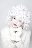 Πορτρέτο της γοητείας του κοριτσιού σε ένα άσπρο παλτό και τα γάντια γουνών στοκ φωτογραφίες