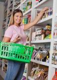 Πορτρέτο της γυναίκας με το καλάθι που ψωνίζει στο παντοπωλείο στοκ εικόνες
