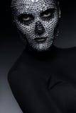 Πορτρέτο της γυναίκας στα rhinestones στην κορυφή Στοκ Εικόνα